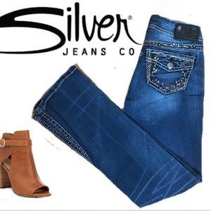 Silver Mid-rise Slim Bootcut Fancy Pocket Jeans